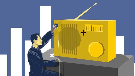 Ein Mann vermisst ein Radio mit einem Maßband.