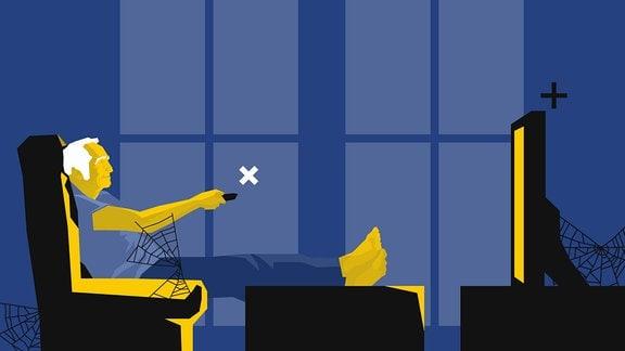 Alter Mann im Sessel - Beine sind hochgelegt - schaltet mit Fernbedienung seinen Fernseher um. An einigen Stellen im Raum sind Spinnweben zu sehen.