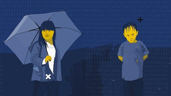 """Frau mit Schirm und Mann, der im """"Daten""""-Regen steht."""