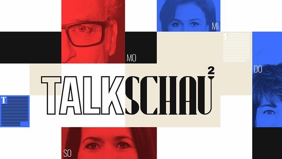 Collage mit Gesichtsausschnitten von Anne Will, Frank Plasberg, Maybrit Illner und Sandra Maischberger. Außerdem der Schriftzug Talkschau.