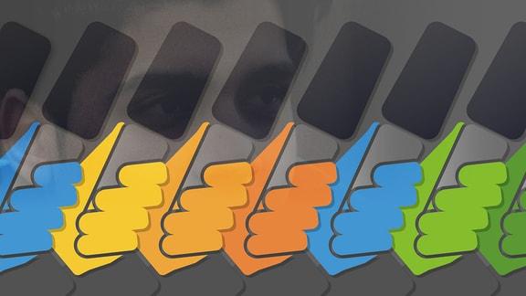 Mikrofone in Händen unterschiedlichster bunter Farben.