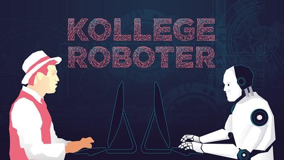 Journalist und Roboter sitzen sich an einem Schreibtisch gegenüber.