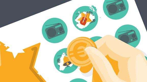 Grafik:Hand mit Euromünze, Icon mit Radiosymbol