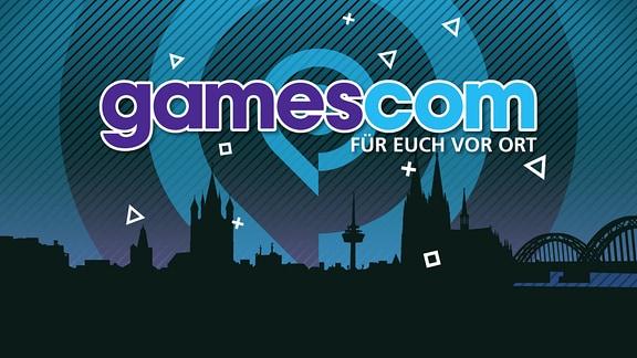 Stadtsilhouette von Köln mit dem Schriftzug gamescom