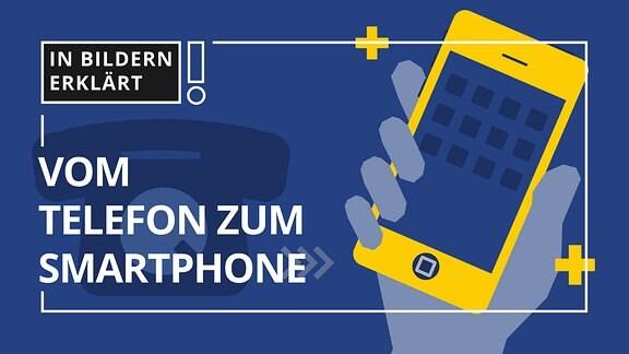 Abbildung eines Telefons sowie einer Hand mit Smartphone.
