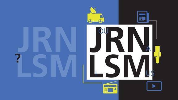 Große Buchstaben JRNLSM sowie Ü-Wagen, Textdokument, Radio und Playbutton.