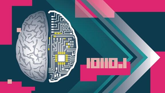 Das menschliche Gehirn ist abstrakt dargestellt. Die eine Hälfte sieht wie das menschliche Gehirn aus, die andere ist mit Platinen und Schaltstellen dargestellt.