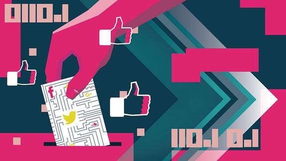 Abstrakte Wahlurne. Auf dem Stimmzettel sind die Logos von Facebook und Twitter gesetzt.