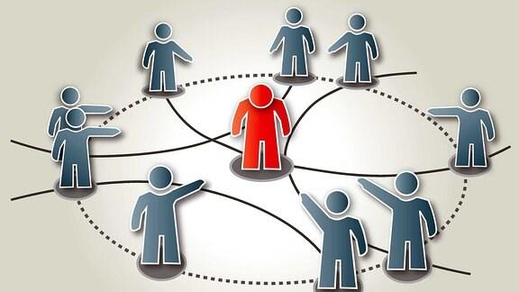 Illustration eines Netzwerkes aus Personen. In der Mitte ist eine Person rot dargestellt, diese von den anderen gemobbt.