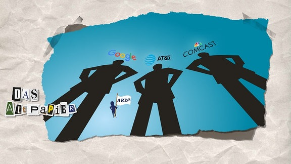 Teasergrafik Altpapier vom 28. August 2018: Drei Schattenriesen (Google, AT&T, Comcast) überragen eine kleine Figur mit einer ARD-Fahne