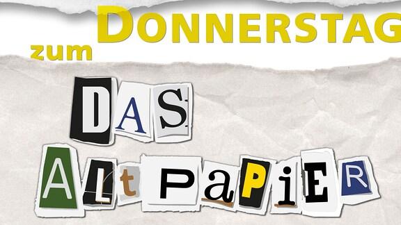 """Teaserbild: Das Altpapier zum Donnerstag. Ausgerissene Buchstaben """"Das Altpapier"""" auf geknülltem Papier"""