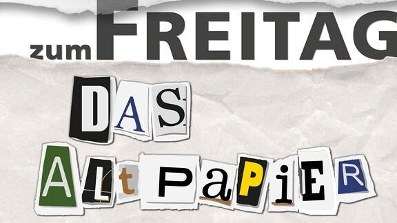 """Teaserbild: Das Altpapier zum Freitag. Ausgerissene Buchstaben """"Das Altpapier"""" auf geknülltem Papier"""