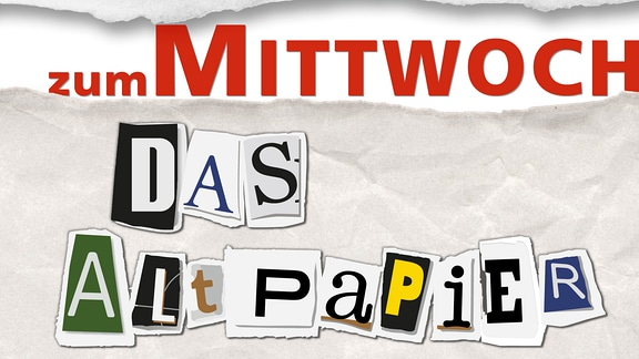 """Teaserbild: Das Altpapier zum Mittwoch. Ausgerissene Buchstaben """"Das Altpapier"""" auf geknülltem Papier"""