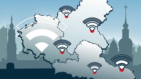 WLAN-Symbole auf einer Karte von Mitteldeutschland im Hintergrund sieht man Silhouetten mitteldeutscher Städte.