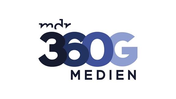 Blaues Logo von MEDIEN360G auf weißem Grund