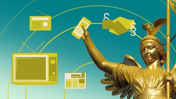 Teasergrafik Duales Mediensystem: eine goldene Statue wird umschwirrt mit Mediensymbolen und Paragraphen-Zeichen