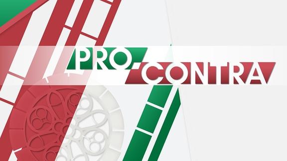 Schriftzug Pro Contra in den Farben rot, weiß, grün. im Hintergrund stilisiertes Fenster des Paulinum.