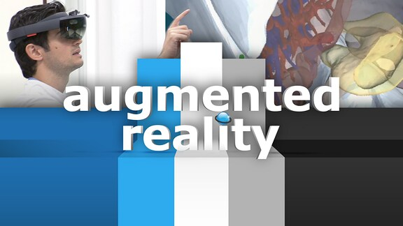 Mann mit VR-Brille sowie Schriftzug augmented reality
