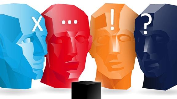 Vier farbige, stilisierte Köpfe mit jeweils einem X, drei Punkten, einem Ausrufezeichen und einem Fragezeichen auf der Stirn.