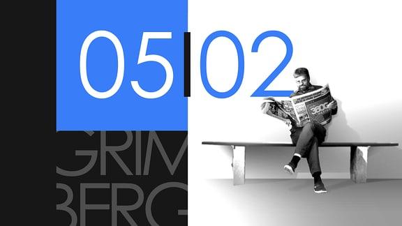 """Teaserbild für GRIMBERG – Die Kolumne am 5. Februar 2019: Schriftzug """"05/02""""."""