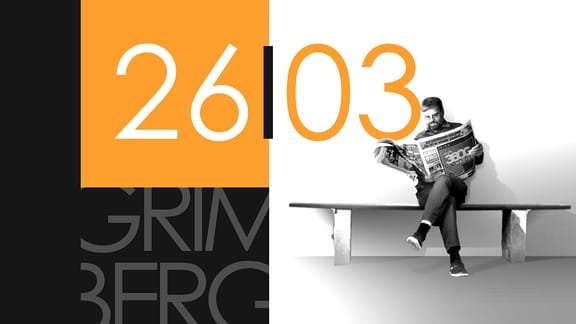 """Teaserbild für GRIMBERG – Die Kolumne am 26. März 2019: Schriftzug """"26/03""""."""