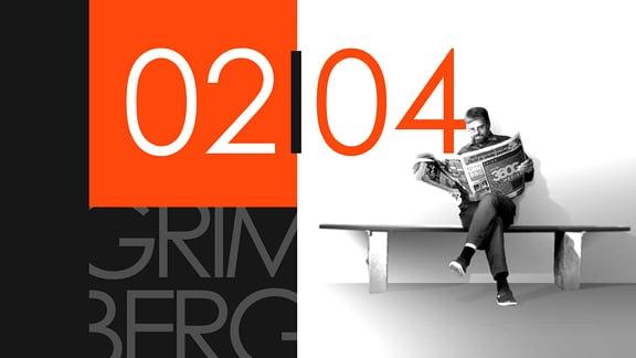 """Teaserbild für GRIMBERG – Die Kolumne am 2. April 2019: Schriftzug """"02/04""""."""
