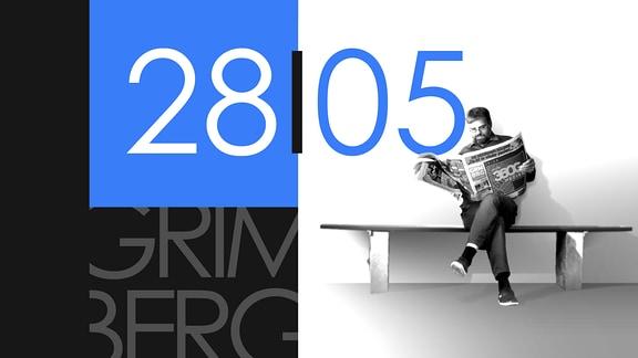 """Teaserbild für GRIMBERG – Die Kolumne am 28. Mai 2019: Schriftzug """"28/05""""."""