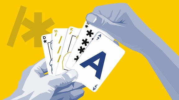Grafik von einem stilisierten Paar Hände, die Spielkarten halten und sortieren. Auf den Karten sind verschiedene Symbole zu sehen, unter anderem zwei Karten mit Gendersternchen.