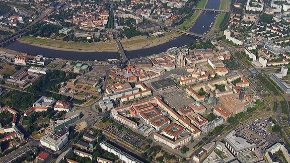 Innenstadt Dresden von oben