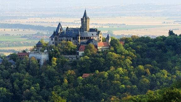 Aussicht auf Schloss Wernigerode, Wernigerode, Harz, Sachsen-Anhalt