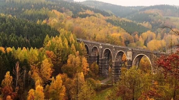 Hetzdorfer Viaduct im Herbst, Erzgebirge