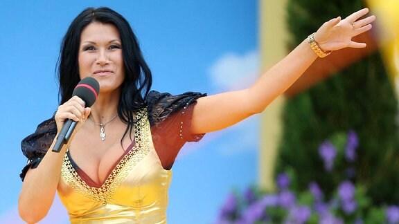 Antonia aus Tirol bei der Generalprobe der ARD Unterhaltungsshow Immer wieder sonntags.