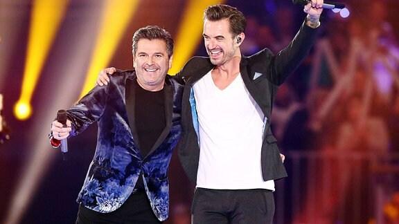 Fernsehmoderator Florian Silbereisen und Sänger Thomas Anders während der ARD Fernsehshow Schlagerchampions.