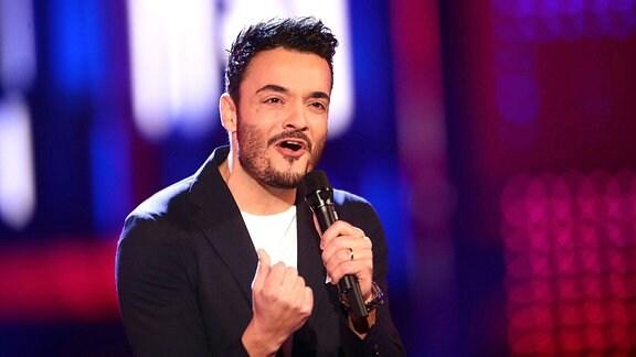 Sänger Giovanni Zarrella während der ARD Fernsehshow «Alle singen Kaiser - Das groÃße Schlagerfest»