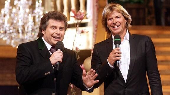 Fernsehmoderator und Sänger Andy Borg (li.) und Sänger Hansi Hinterseer (re.).