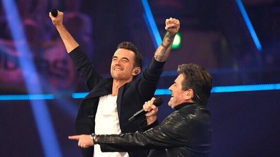 Florian Silbereisen und Thomas Anders in der TV Show Schlagerbooom 2021