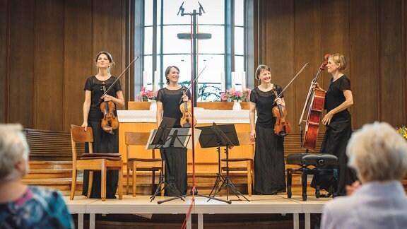 Die Musikerinnen des Klenke Quartetts im Diakonissen-Mutterhaus Elbingerode