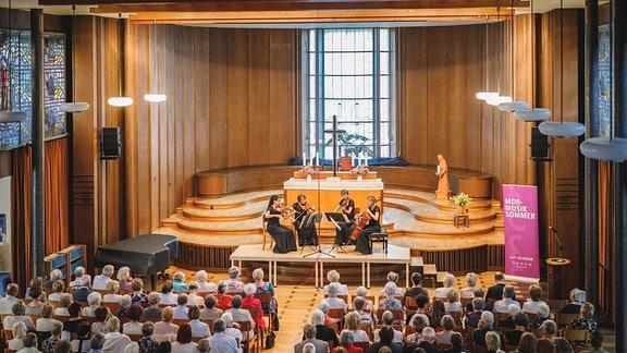 Das Klenke Quartett beim Konzert im Kirchsaal des Diakonissen-Mutterhauses Elbingerode