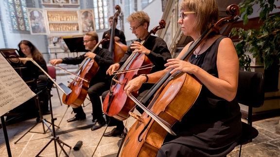 Die Celli der Kammersymphonie Leipzig beim MDR-Musiksommer in der Kulturkirche in Weißensee.