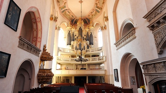 Die Naumburger Stadtkirche St. Wenzel von innen mit Blick auf die Orgelempore