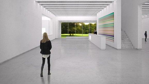 Der weiße Innenraum des bauhaus museums weimar in einer Visualisierung
