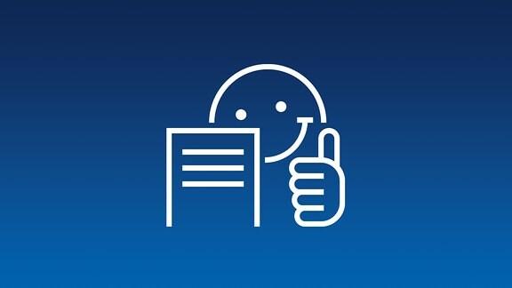 Logo Leichte Sprache weiß auf blau