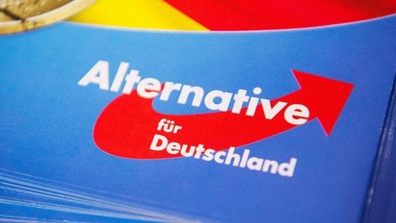 Das Logo der AfD auf einem Flyer