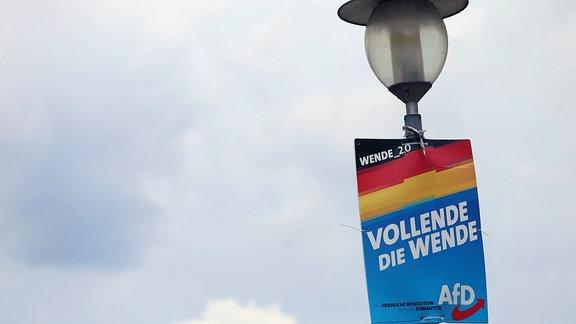 Wahlplakat der AfD mit der Aufschrift ''Vollende die Wende''.
