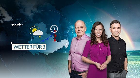 Wetter für die AKTUELL App - mit den Moderatoren Thomas Globig, Michaela Koschak und Jörg Heidermann