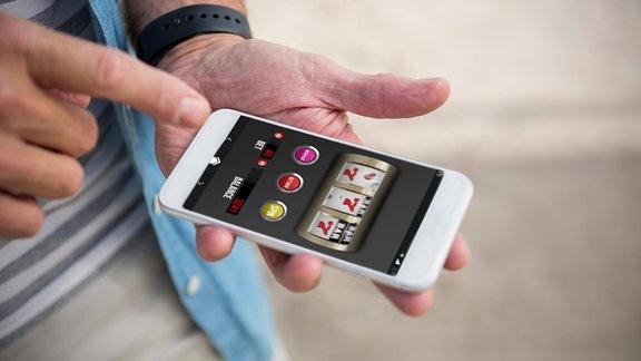 Glücksspiel App auf einem Smartphone