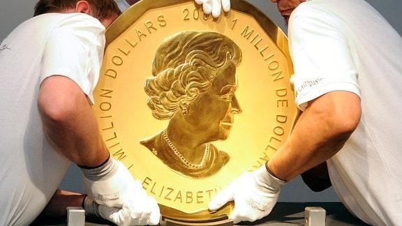Ein Exemplar der sogenannten 'Big Maple Leaf'-Goldmünze
