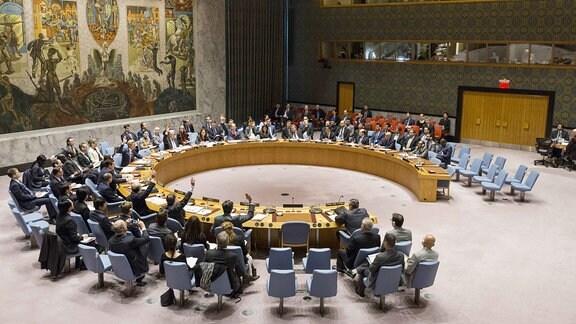 Der UN-Sicherhetsrat tagt im UN-Hauptquartier in New York