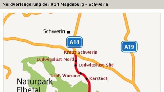 Geplante Nordverlängerung der A 14 Magdeburg - Schwerin