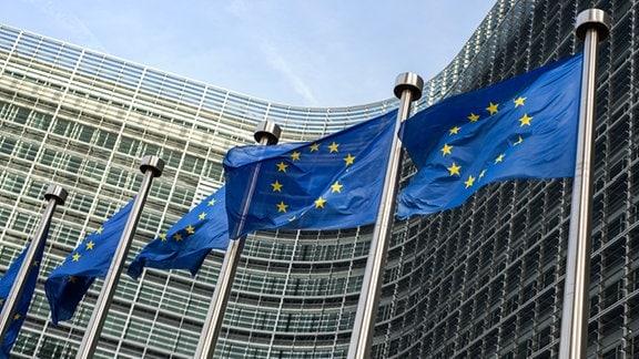EU-Flaggen vor dem Sitz der EU-Kommission in Brüssel